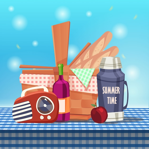 Picknickkorb auf tischdecke Premium Vektoren