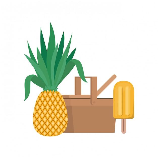 Picknickkorb mit tropischen früchten auf weiß Kostenlosen Vektoren