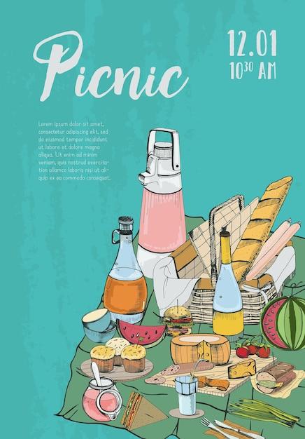 Picknickplakat mit platz für text und essen Premium Vektoren