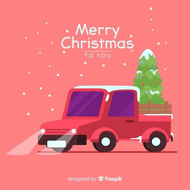 Pickup truck mit weihnachtsbaum Kostenlosen Vektoren