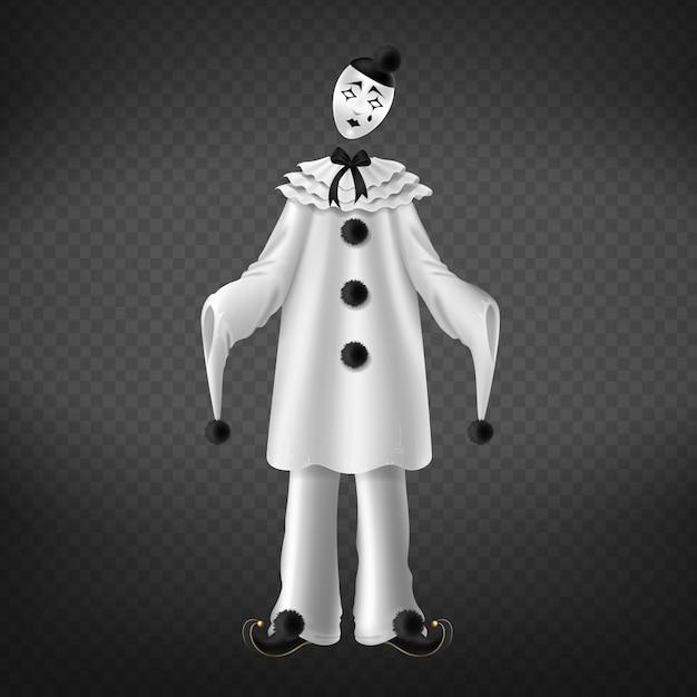 Pierrot lokalisiert auf transparentem hintergrund. Kostenlosen Vektoren