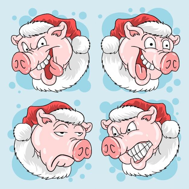 Pig head santa claus weihnachten Premium Vektoren