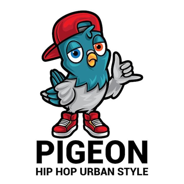 Pigeon cartoon maskottchen logo Premium Vektoren