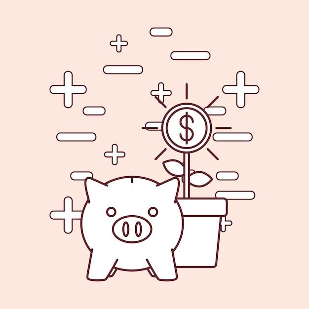 Piggy querneigung und geld bezogene ikonen Premium Vektoren