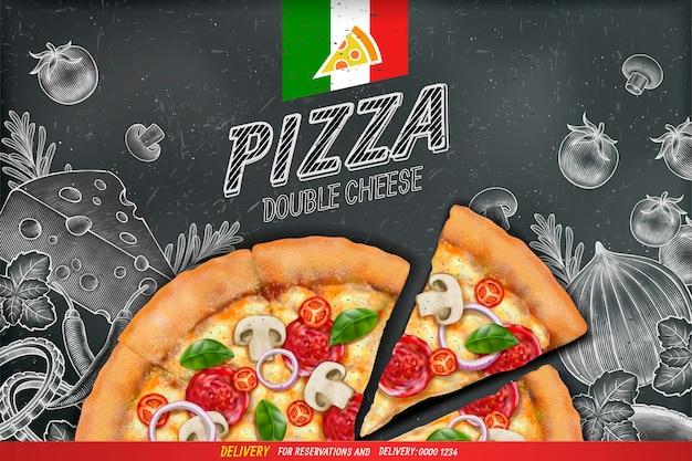 Pikante pizza-anzeigen mit reichhaltigem belagsteig auf kreidekritzelnhintergrund des gravierten stils Premium Vektoren