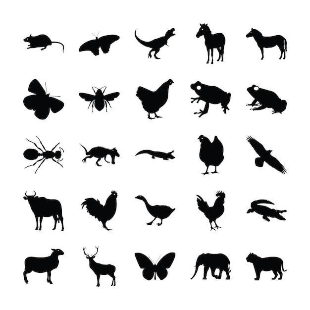 Piktogramme von tieren Premium Vektoren