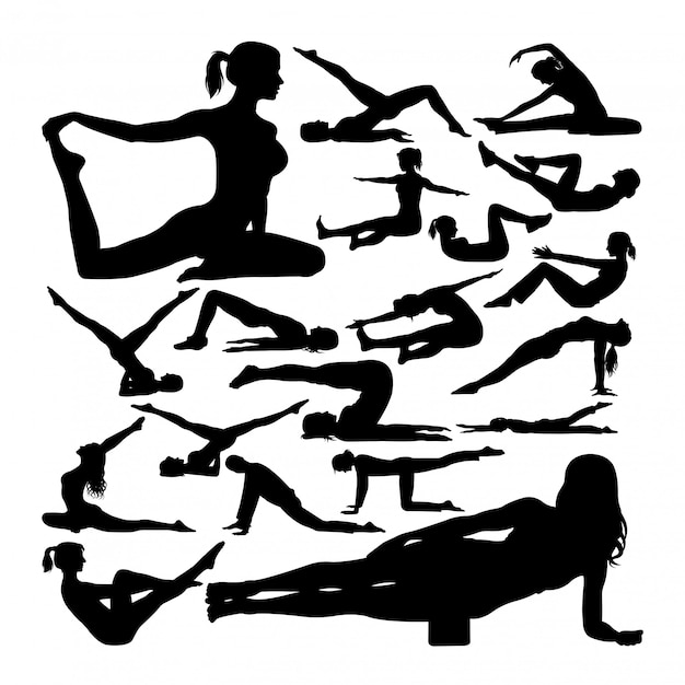 Pilates stellen silhouetten Premium Vektoren