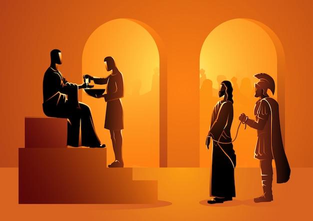 Pilatus verurteilt jesus zum sterben Premium Vektoren