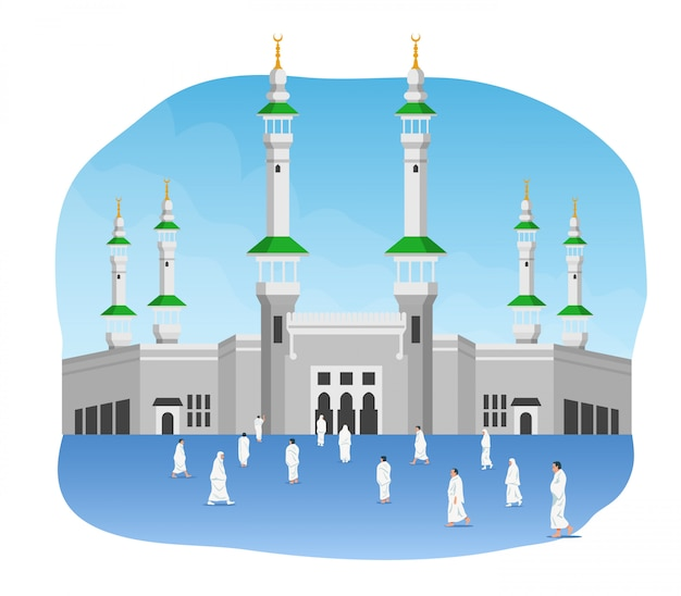 Pilgerfahrt vor masjidil al haram Premium Vektoren