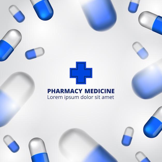 Pillen apotheke illustration mit textvorlage Premium Vektoren