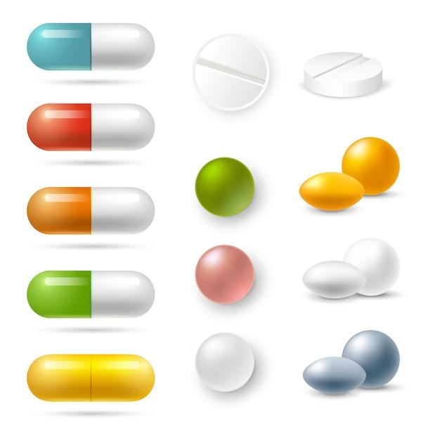 Pillen icons set Kostenlosen Vektoren