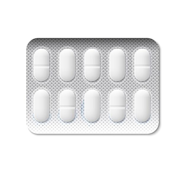Pillen in einer blisterpackung Premium Vektoren