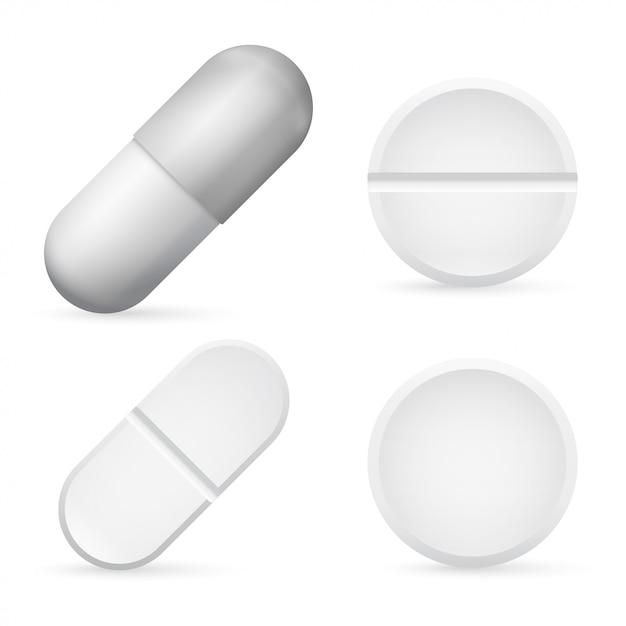 Pillen kapseln 3d realistisch Premium Vektoren