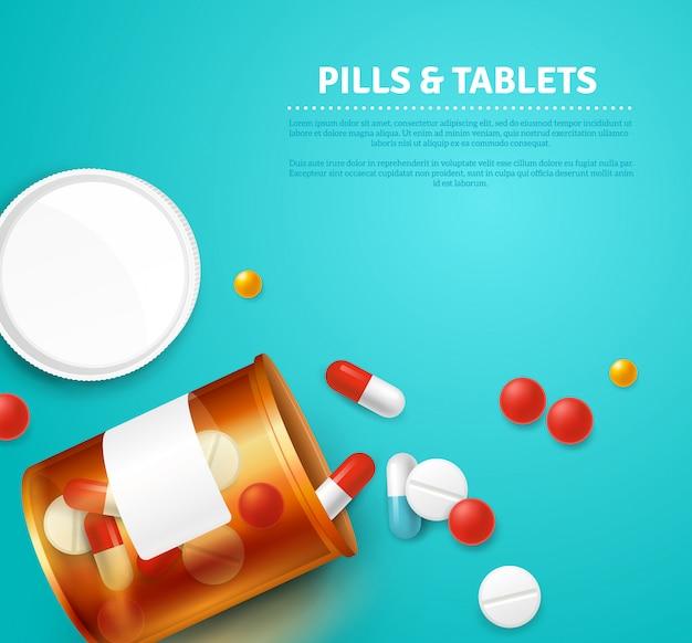 Pillen kapseln und tabletten flasche auf blauem hintergrund realistisch Kostenlosen Vektoren