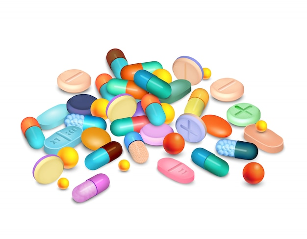 Pillen medizinische realistische zusammensetzung Kostenlosen Vektoren
