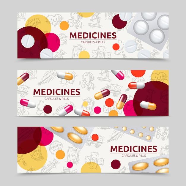 Pillenkapseln und horizontaler fahnensatz der medizin Kostenlosen Vektoren