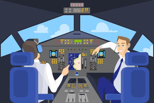 Pilot im cockpit lächelnd. bedienfeld im flugzeug. kapitän auf dem brett. idee des fliegens und der luftfahrt. illustration Premium Vektoren