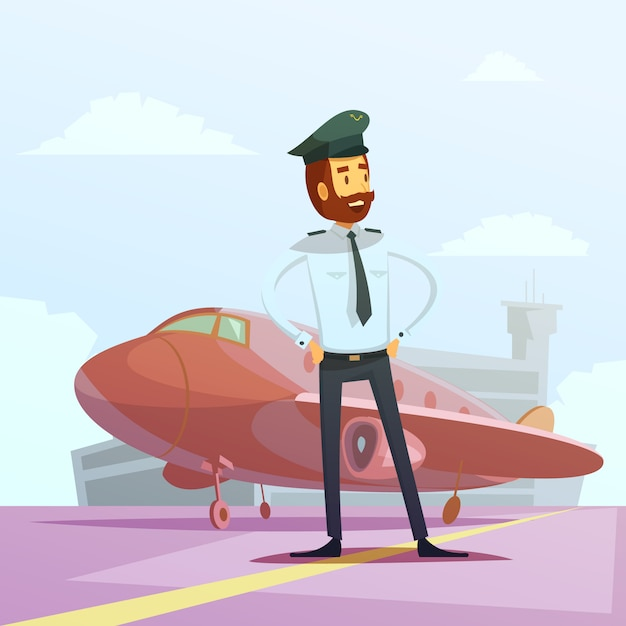 Pilot in einem einheitlichen und flachen karikaturhintergrund Kostenlosen Vektoren