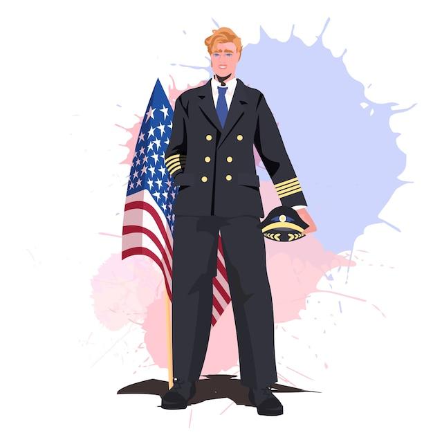 Pilot in uniform mit usa-flagge happy labour day Premium Vektoren