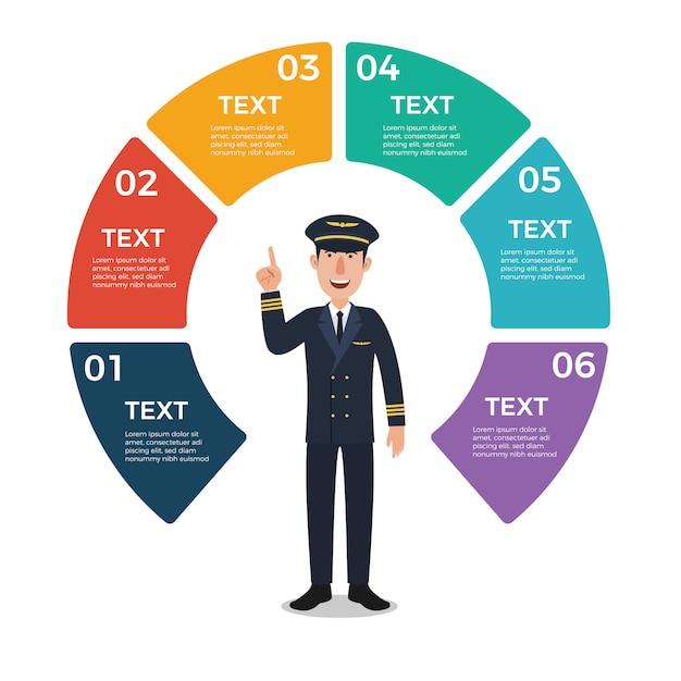 Pilot mit infographic schablone des kreisdiagramms Premium Vektoren