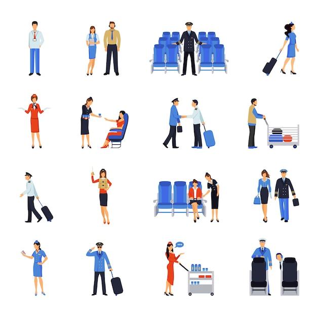 Pilot und stewardess flat icons set Kostenlosen Vektoren
