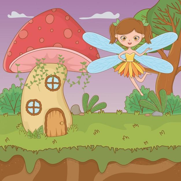 Pilz und charakter des märchens Kostenlosen Vektoren