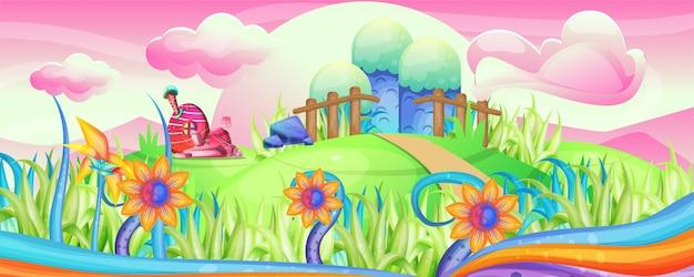 Pilzhäuser in der gartenillustration Premium Vektoren