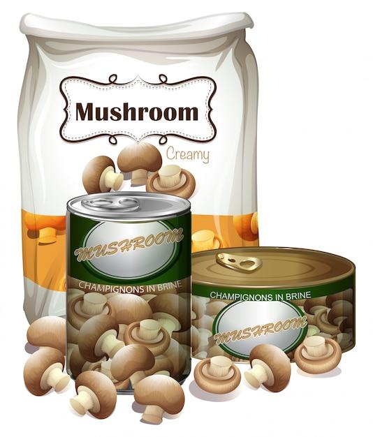 Pilzprodukte in verschiedenen verpackungen Kostenlosen Vektoren