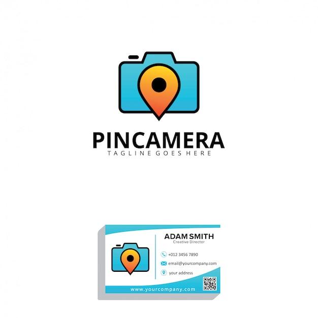 Pin-kamera-logo-vorlage Premium Vektoren