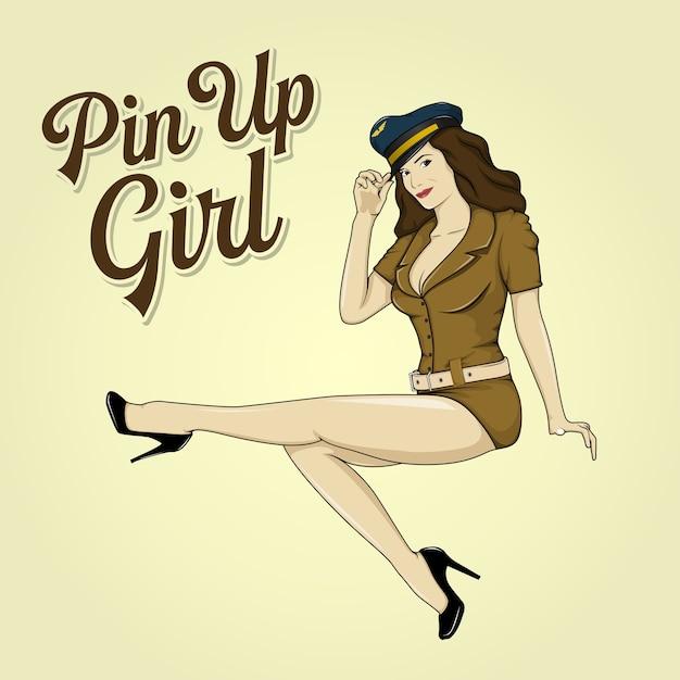 Pin-up girl retro Premium Vektoren