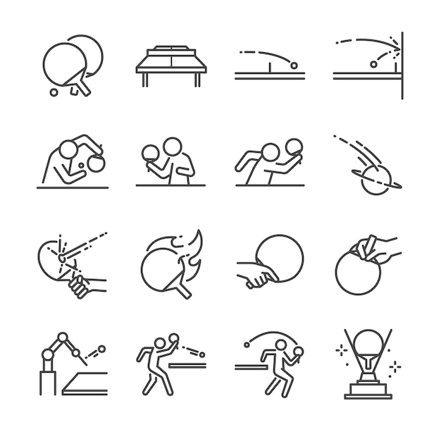 Ping pong linie icon-set. Premium Vektoren