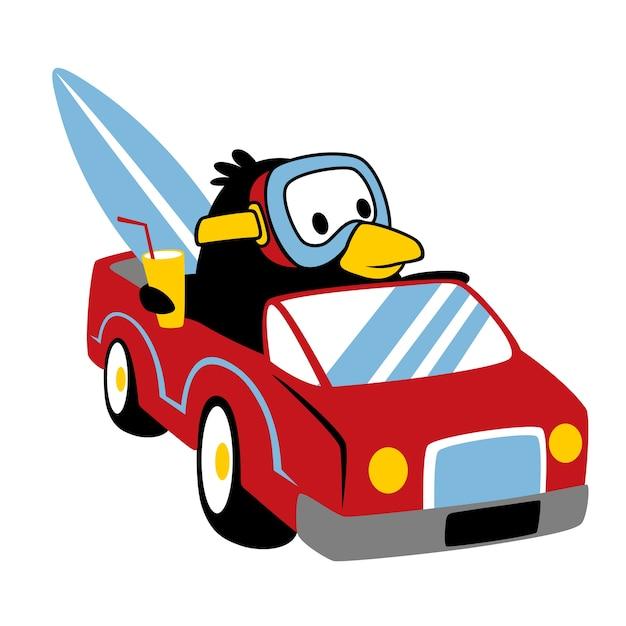 Pinguin Auf Auto Cartoon Vektor Download Der Premium Vektor