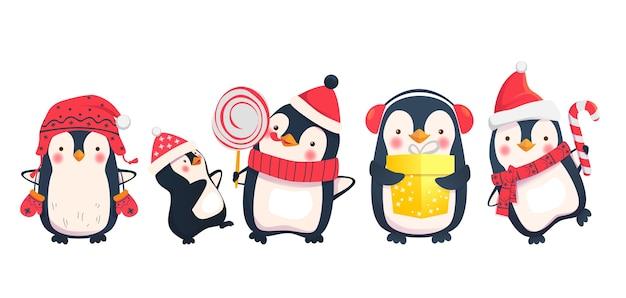 Pinguin-karikatur-weihnachtsfiguren Premium Vektoren