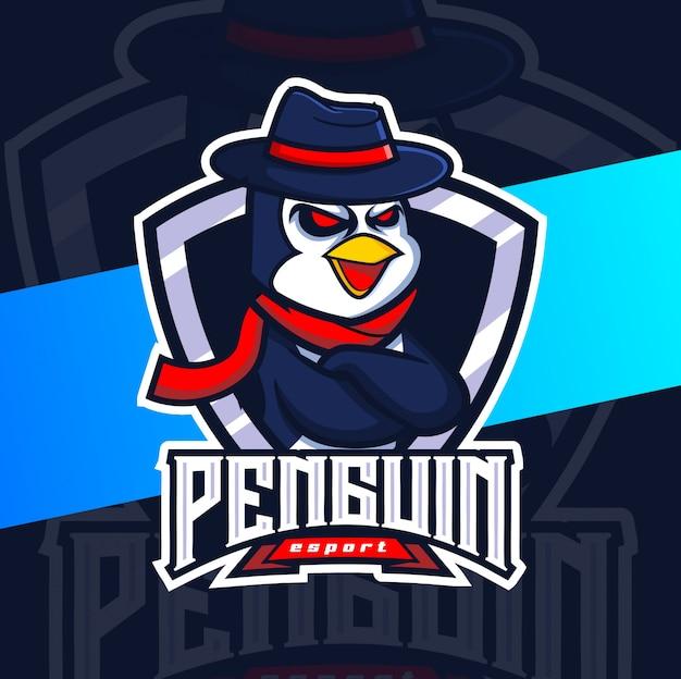 Pinguin maskottchen esport logo design Premium Vektoren