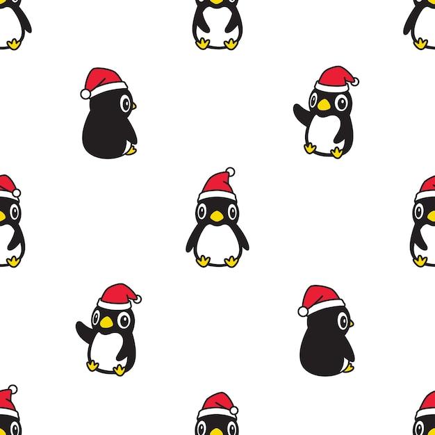 Pinguin nahtlose muster weihnachten weihnachtsmann hut cartoon Premium Vektoren