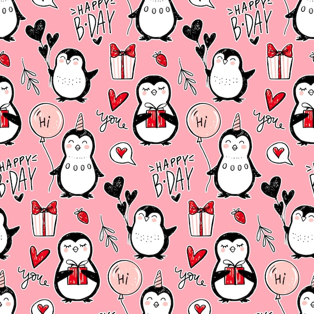 Pinguin nahtloses muster. lustiger tierhintergrund. karikatur hand gezeichnete textur mit niedlichen zeichen. doodle-stil. Premium Vektoren