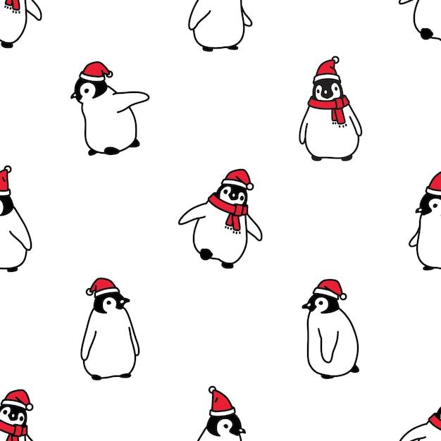 Pinguin nahtloses muster weihnachten weihnachtsmann hut Premium Vektoren