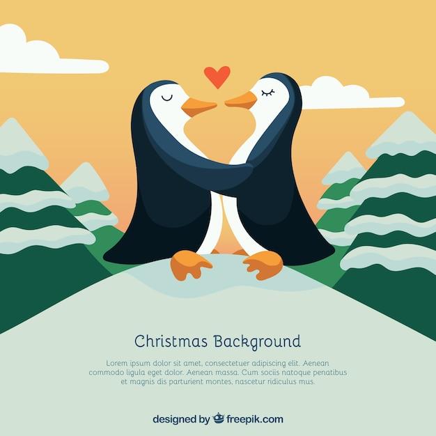 pinguin paar in der liebe weihnachten hintergrund. Black Bedroom Furniture Sets. Home Design Ideas