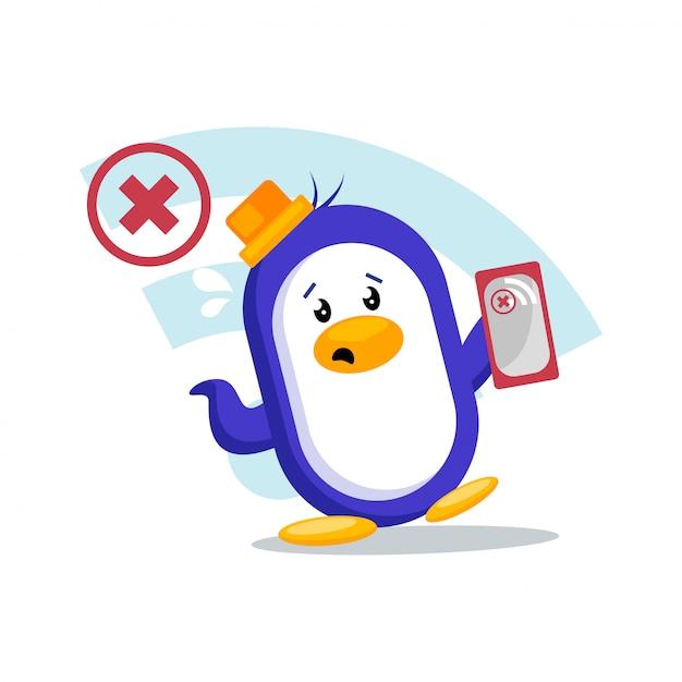 Pinguin sucht nach wi-fi-signal Premium Vektoren