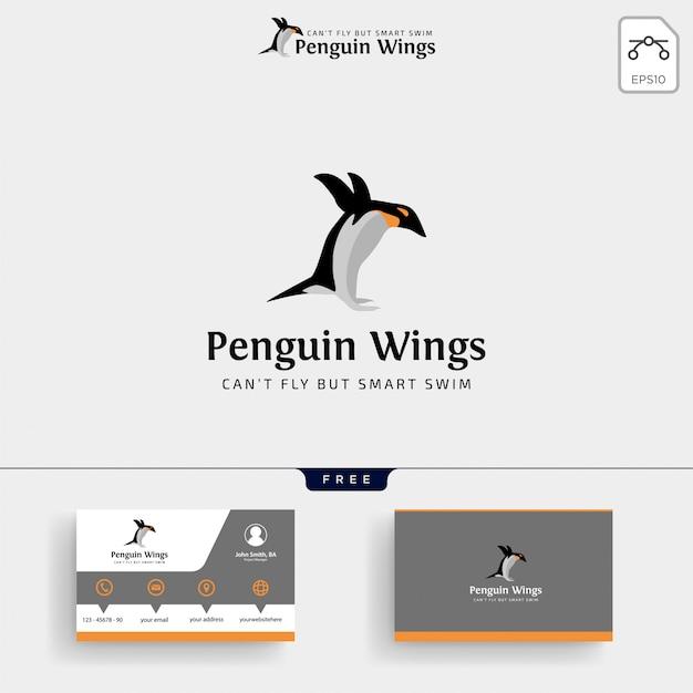 Pinguine logo vorlage und visitenkarte Premium Vektoren