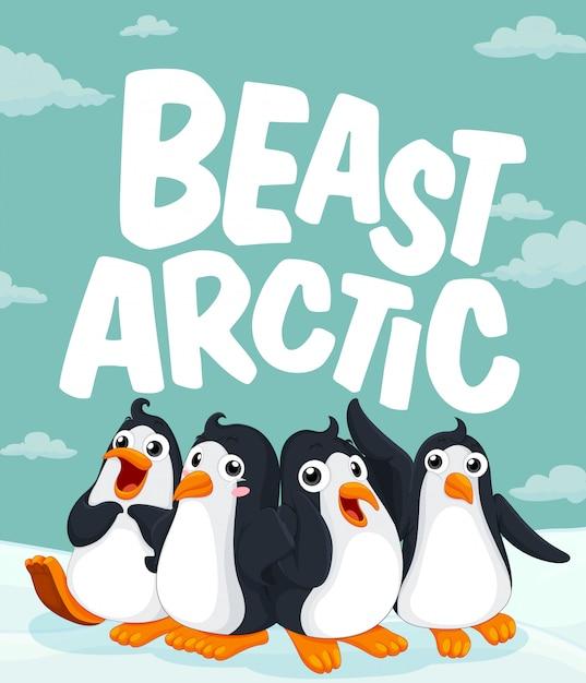 Pinguine stehen auf eis Kostenlosen Vektoren