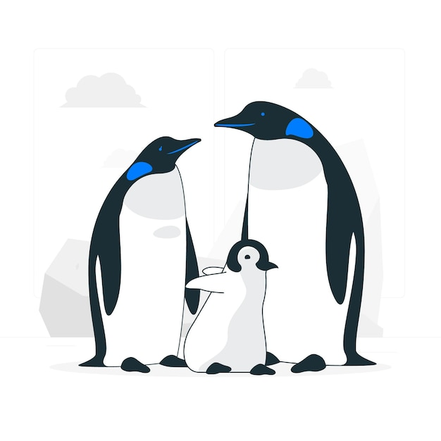 Pinguinfamilienkonzeptillustration Kostenlosen Vektoren