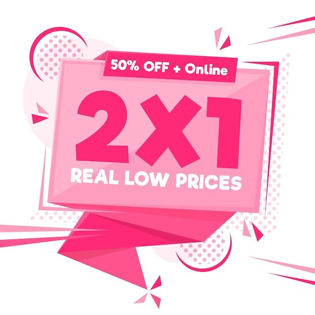 Pink 2x1 sonderangebot banner Premium Vektoren