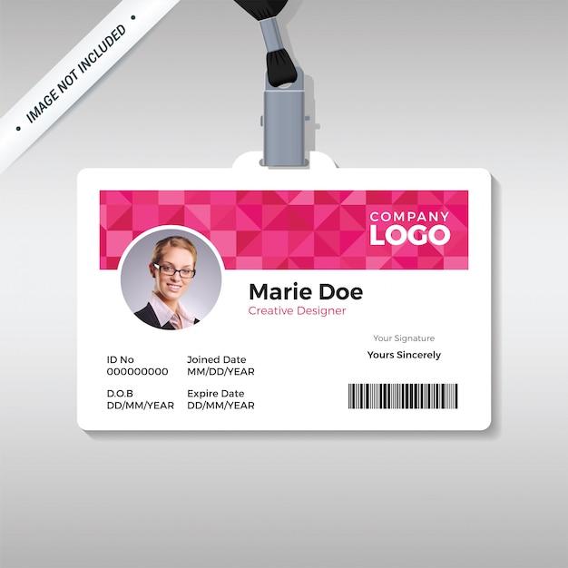 Pink diamond id-kartenvorlage Premium Vektoren