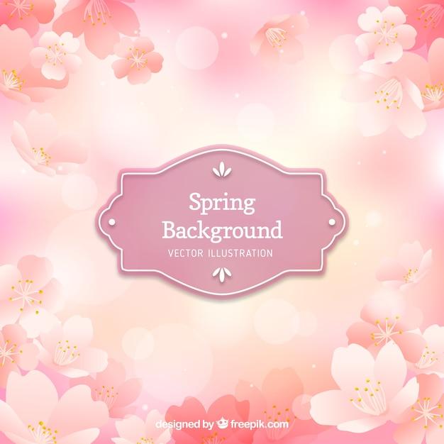Pink floral frühjahr hintergrund Kostenlosen Vektoren