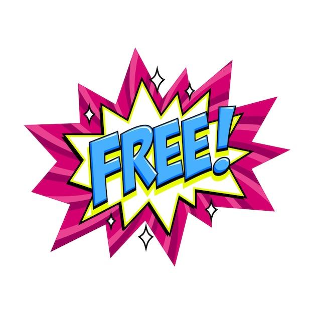 Pink free label auf bang comic ballon Premium Vektoren