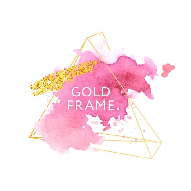 Pink, rose, pinselstriche und goldrahmen. Premium Vektoren