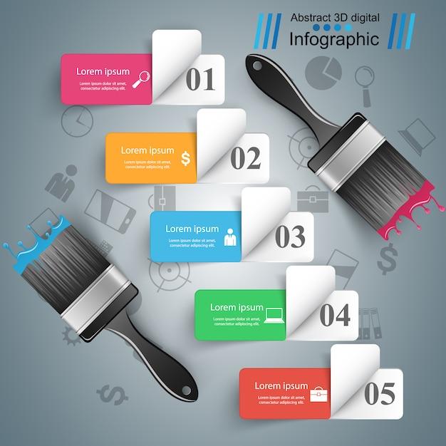 Pinsel zum zeichnen von business-infografik Premium Vektoren