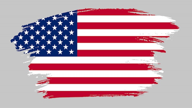 Pinselstrich flagge der vereinigten staaten Premium Vektoren