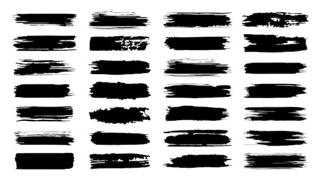 Pinselstriche. texturpinsel und moderne grunge-pinsellinien. künstlerisches element des tintenpinsels für die rahmengestaltung. elemente gesetzt. sammlung von texträndern auf weißem hintergrund Premium Vektoren